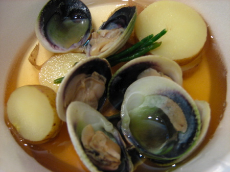 Cockles with Fingerling Potatoes, Scallions and Dashi