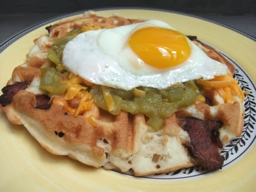 Chile Cheddar Bacon Waffle title=