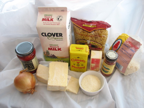 ingredients for Macaroni & Cheese with Spanish Peppers