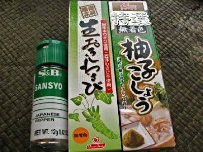 sansyo, wasabi and yuzukosho
