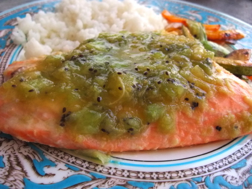 Salmon with Kiwi Sauce