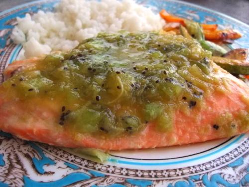 Salmon with Kiwi Sauce