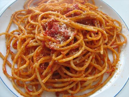 spaghetti, leftovers for breakfast