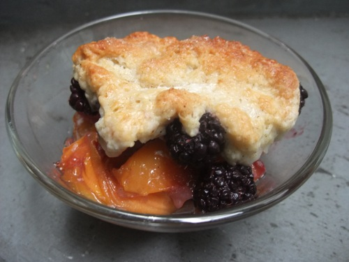 Peach Blackberry Cardamom Cobbler