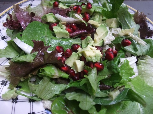 Avocado Pomegranate Salad with Miso Dressing